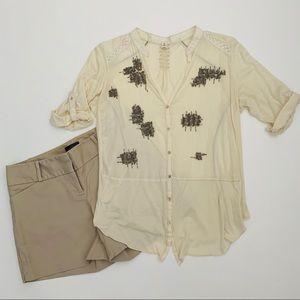 Anthropologie TINY Cream Beaded Shirt Blouse S